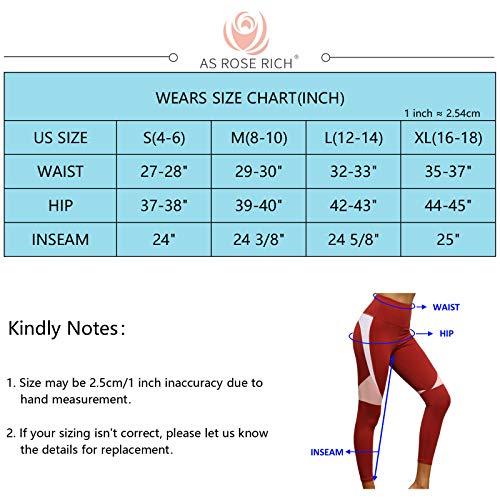 AS ROSE RICH Workout Leggings for Women Color Block Yoga Pants High Waisted with 1 Inner Pocket at Back Waist X-Large Red Dahlia