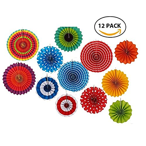Mexican wedding decorations amazon 12 paper fan set mexican fiestapatrioticweddingbirthdaybaby shower party supplies decoration rosettes various sizes junglespirit Images
