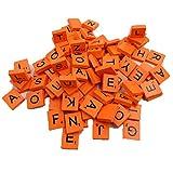 Xmiral 100Pcs Wooden Scrabble Tiles Black Letters Numbers For Crafts Wood Alphabets(Orange)