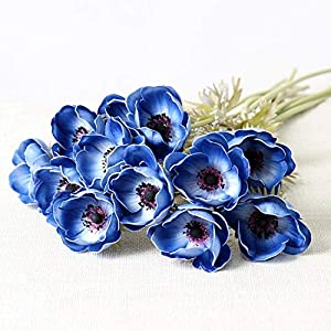 mamamoo Real Touch Artificial Anemone Flowers Silk Flores Artificiales for Wedding Holding Fake Flowers Home Garden Decorative Wreath,Blue 30
