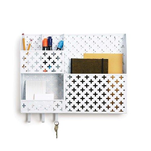 Design Ideas Euler Wall Organizer 16'' x 2.5'' x 14'' White Stamped Metal by Design Ideas