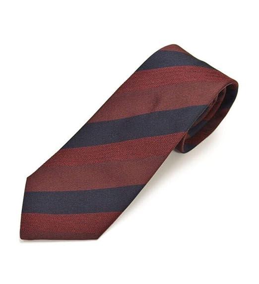 Lanvin - Corbata de seda, diseño de rayas, color borgoña/azul ...