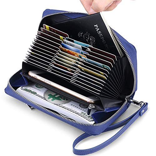 JEEBURYEE Womens Genuine Leather Credit Card Holder Wallet RFID Blocking Large Capacity Long Zip Around Clutch Purse with Wrist Strap Blue