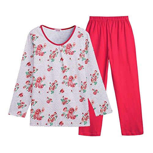 Primavera y otoño damas pijamas/Pantalones de manga larga de cuello redondo de algodón de Shufu/Mujer suite casa hogar vestido B