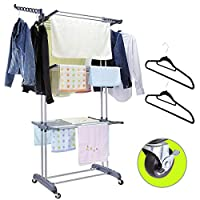 MIZGI 3 Tier Rolling Clothes Drying Rack Clothes Garment Rack Laundry Rack with Foldable Wings Shape Indoor/Outdoor Standing Rack Stainless Steel Hanging Rods - Gray & Electroplate