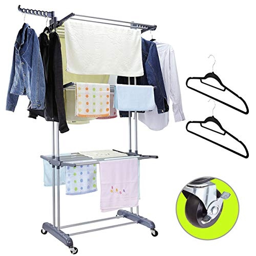 MIZGI 3 Tier Rolling Clothes Drying Rack Clothes Garment Rack Laundry Rack with Foldable Wings Shape Indoor/Outdoor Standing Rack Stainless Steel Hanging Rods - Gray & Electroplate (Gray)