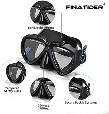 FinaTider Snorkel Mask Set 2020 New Diving Mask Panoramic Wide View Watertight and Anti-Fog Lens Mask Dry Top Collapsible Snorkel Professional Snorkeling Set Adult Youth