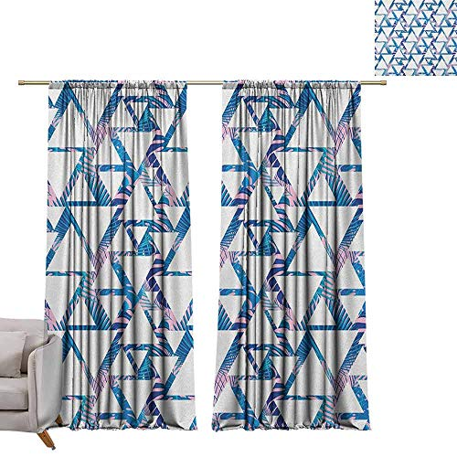 berrly Room Darkening Wide Curtains Leaf,Tropical Pattern with Exotic Palm Leaves and Geometrical Triangle Shapes, Blue Pale Pink White W96 x L96 Thermal Insulating Blackout Curtain