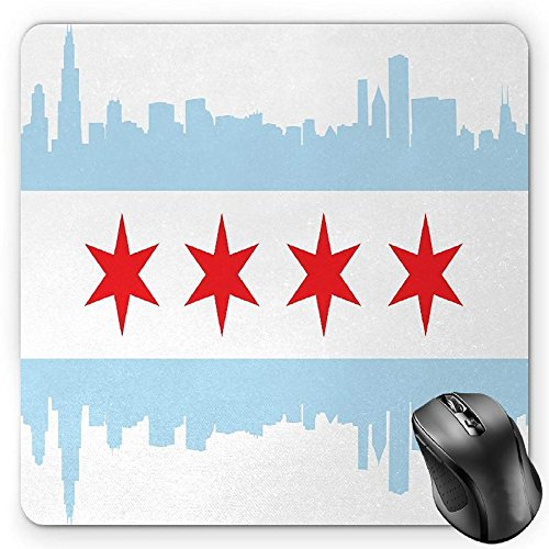 BGLKCS Chicago Skyline Mouse Pad by, City of Chicago Flag with High Rise Buildings Scenery National, Standard Size Rectangle Non-Slip Rubber Mousepad, Red White Baby Blue