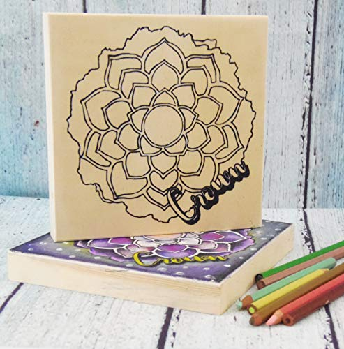 """Chakra Crown Purple Mystic Adult Coloring Wooden Board Art Craft Project Gift Teen Girl-6x6"""" from That Art Girl"""
