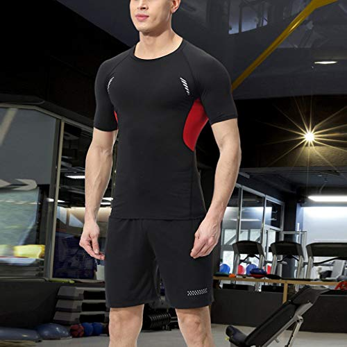 Men's T Shirt Elastic Fitness T-Shirt Fast Drying Tops Long/Short Pants Sports Tight Suit Athletic Sport Running T Shirt]()