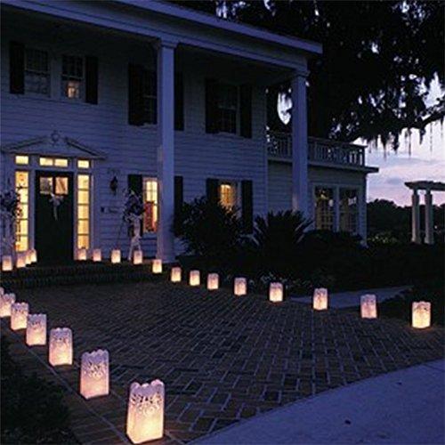 Fascola 20 x Heart Tea light Holder Luminaria Paper Lantern Candle Bag For BBQ Christmas Party Wedding