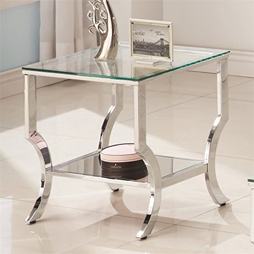 Coaster 720337-CO 1 Shelf Glass Top End Table, Chrome by Coaster Home Furnishings (Image #1)