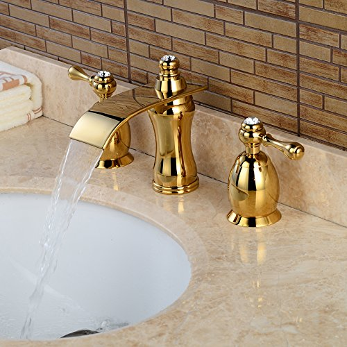 Wovier Goldtipvd Waterfall Bathroom Sink FaucetTwo Handle Three - 8 inch bathroom sink faucets
