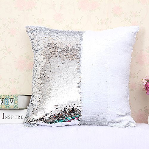 LEIZENG Sequins Pillow Case Mermaid Two-Color Bright Piece Pillow K (Fiddle Pattern Silver)