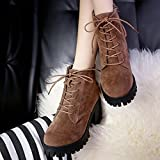 Hemlock Women Boots PU Leather Lace-up Martin Shoes Non-Slip Wedge Heels Ankle Boots Winter Dress Booties