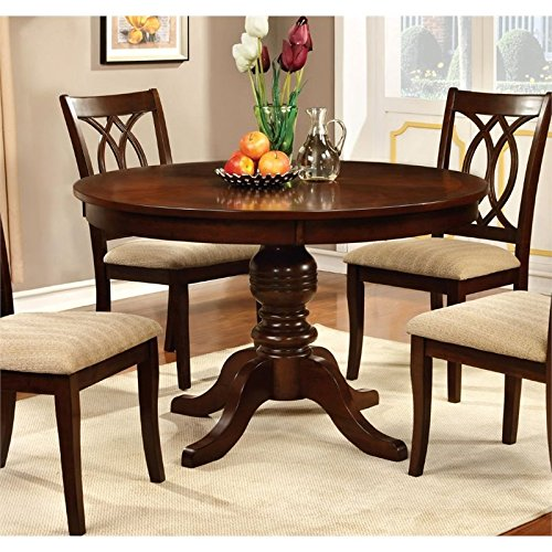 BOWERY HILL Round Pedestal Dining Table in Cherry Cherry Dining Room Pedestal