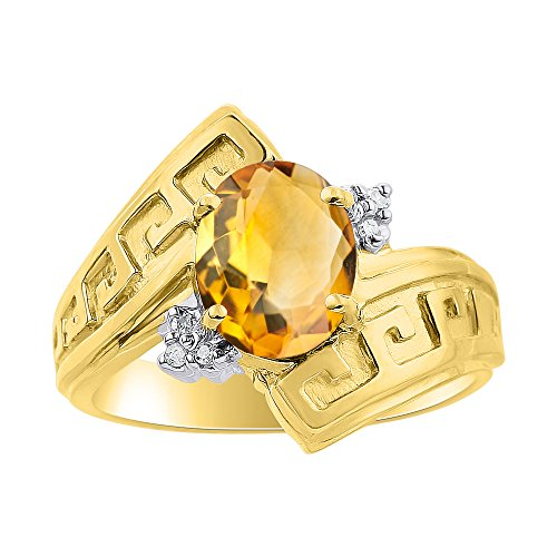 Diamond & Citrine Ring Set In Yellow Gold Plated Silver - Greek Key Design - Color Stone Birthstone ()