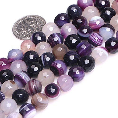 GEM-inside Banded Purple Agate Gemstone Loose Beads Natural Energy Power Beads For Jewelry Making Round 8mm Faceted 15