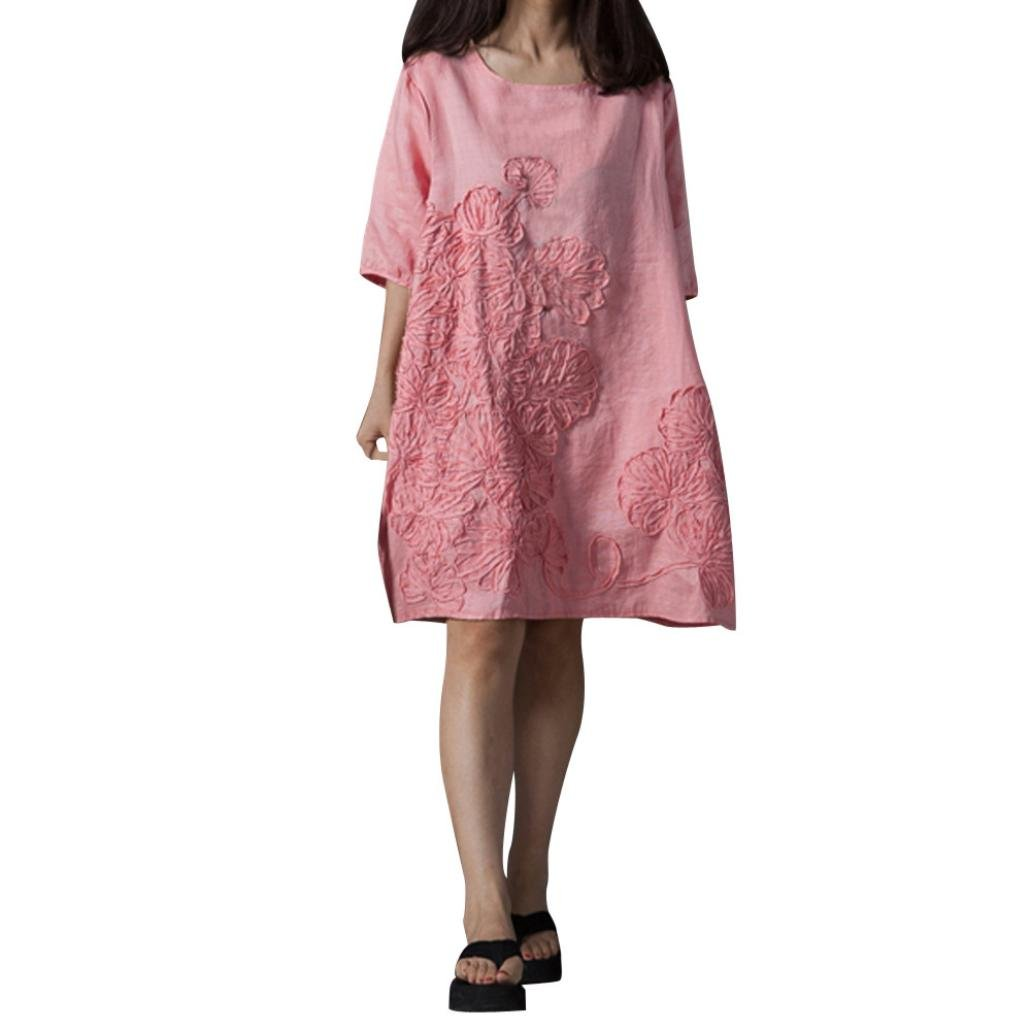 vermers Clearance Women Boho Dresses Fashion Half Sleeve O Neck Floral Patchwork Cotton Linen Loose Casual Dresses(3XL, Pink)
