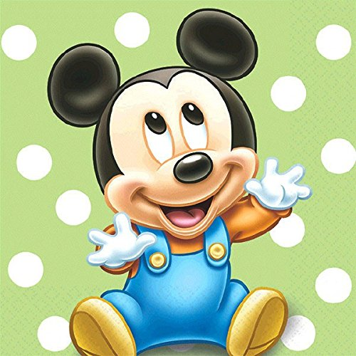 16 Count Mickey's 1st Birthday Beverage Napkins, Blue