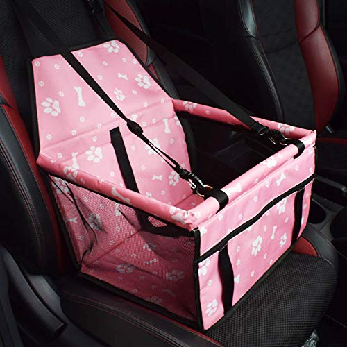 LOMAO Car Booster Seat for Dog Cat Portable Pet Storage Folding Pet Car Seat with Seat Belt Tether and Zipper Storage Pocket (Pink Print)