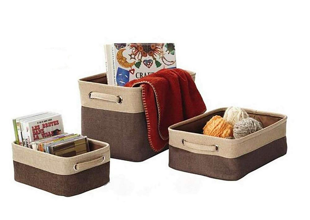 Leoyoubei Canvas Fabric Collapsible Cube Bin Set with Handles Storage Bin Organizer Basket Toy Organizer Hampers,Pet Toy Storing,(L M S) 3-Pack for Home Office Closet,Double Layer Fabric Brown/Beige - Uses: Products can be used for debris storage, clothing storage, multi-functional products. thick/large Handle for easy slide in and pull out of shelves or cabinet,Collapsible for easy storage if not in use. Children's storage bags can be hung on the walls, Protects contents against moisture and dirt. Also suitable for waste sorting. - living-room-decor, living-room, baskets-storage - 51ruLvh2XML -
