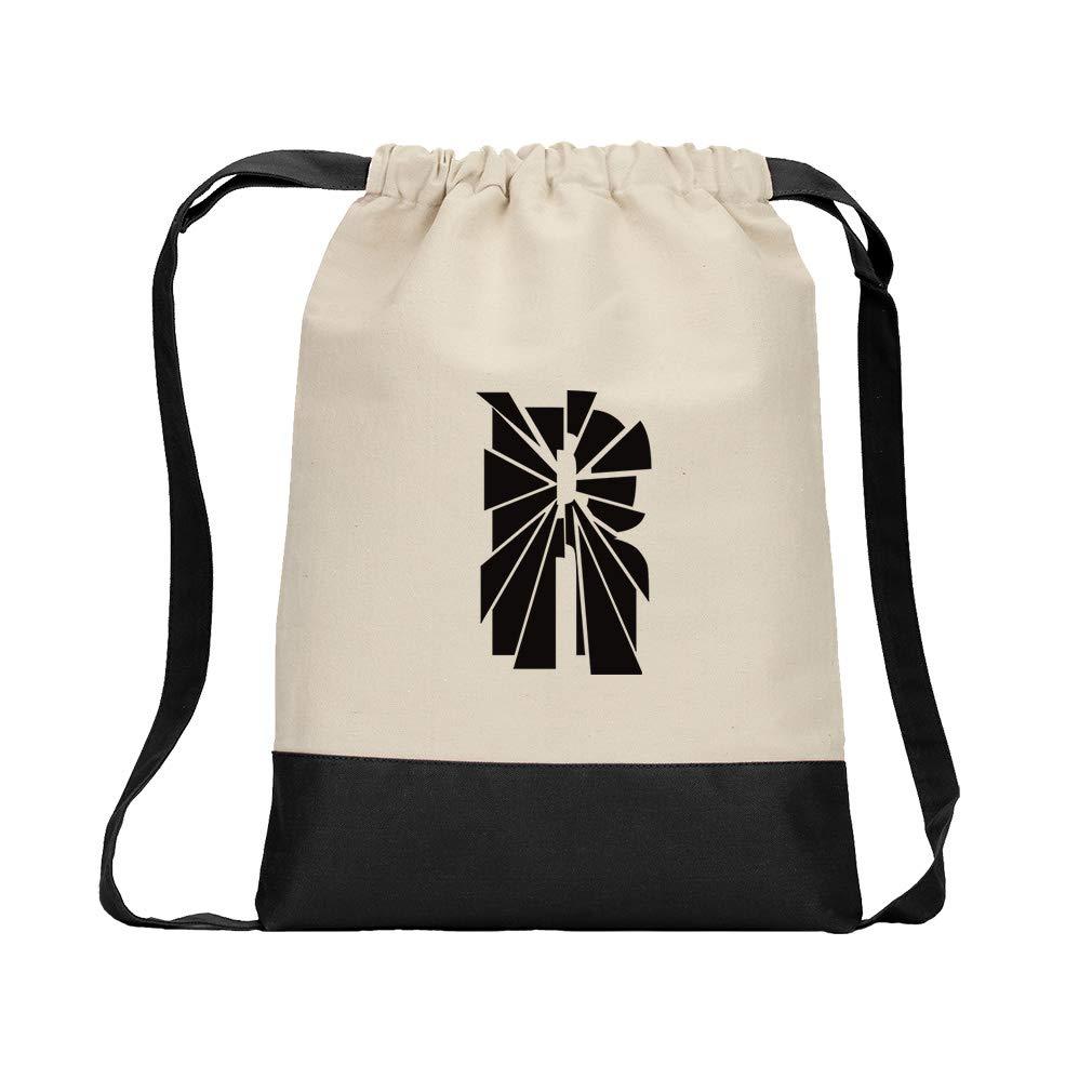 ''R'' Glass Initial Monogram Letter R Cotton Canvas Color Drawstring Bag Backpack - Black