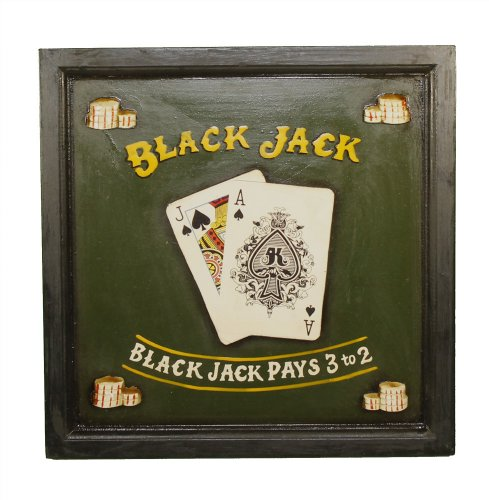 Wood Black Jack Sign: Decorative Game Room Decor - game room wall decorations