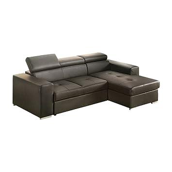 Sofá cama angular modelo Frank con chaise longue derecho de ...
