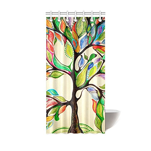 InterestPrint Colorful Art Tree Bath Decorations Bathroom Decor Sets with Hooks, Tree of Life Polyester Fabric Mildew Resistant Shower Curtain 36 X 72 Inches