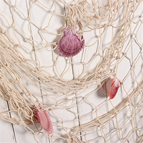 Youbedo Nautical Fish Net With Shells Decoration Retro Photography Props Creamy White Mediterranean Style Fish Net Decor 79 x 59inch