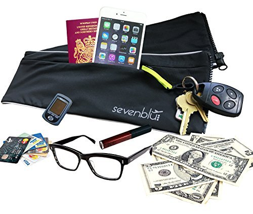 SevenBlu HIP - Fashion Money Belt / Extra Pocket / Running Belt - World's Best Stylish Travel Wallet or Mini Purse - with ZIPper - Fits iPhone 6 Plus - Your Smartphone Pocket