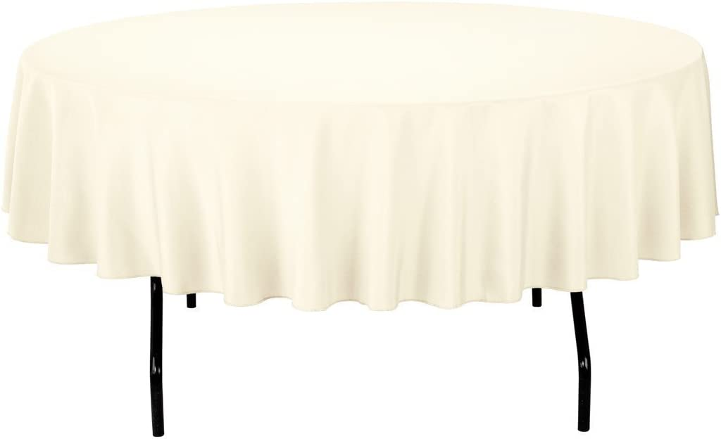 "Gee Di Moda Tablecloth - 90"" Inch Round Tablecloths for Circular Table Cover in Ivory Washable Polyester - Great for Buffet Table, Parties, Holiday Dinner & More"