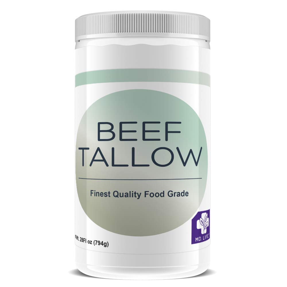 Save $$ MD.LIFE Beef Tallow - 28oz Compare to Beef Tallow, Grass-Fed, Kettle Rendered and Fine Filtered, (1 Pack)