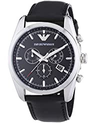 Emporio Armani Mens AR6039 Sport Black Leather Watch