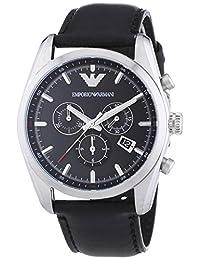 Emporio Armani Men's Sportivo AR6039 Black Leather Analog Quartz Watch