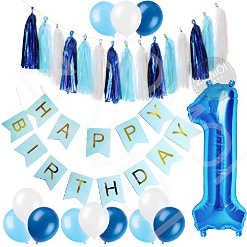 1st Birthday Party Decorations Kit for Baby Boy - Blue, Baby Blue & White Décor Set with Blue Number One Balloon, Baby Blue Happy Birthday Banner, Tassels and Latex Balloons Party Supplies.