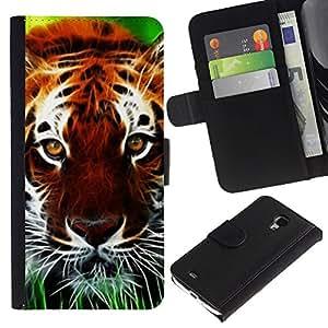 Billetera de Cuero Caso Titular de la tarjeta Carcasa Funda para Samsung Galaxy S4 Mini i9190 MINI VERSION! / Cat Nature Africa Orange Animal / STRONG