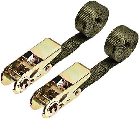 uxcell ラッシングストラップ 2 M x 25mm 800kg カーゴタイダウンストラップ ラチェットバックル付き アーミーグリーン 2個