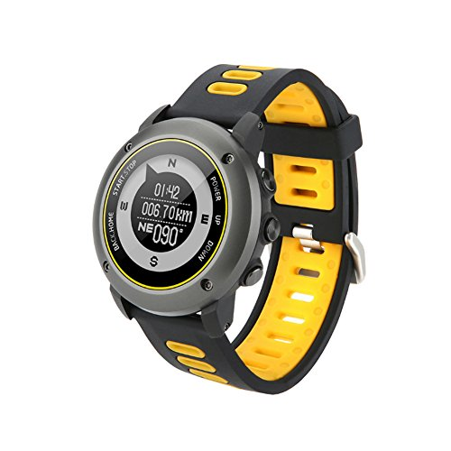 GPS Hiking Bluetooth Smart Watch, Adventurer Outdoor Sports IP68 Waterproof Watch,Multi-function Mode,for Tracking Running,Hiking,Heart Rate Monitor,SOS,Compass,USB Charging,Connect with APP (Yellow) by Reabeam