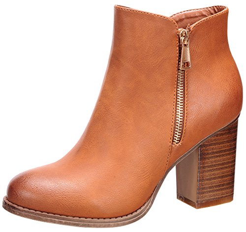 Zipper Ankle Heel Dark Tan Nature Women's Closed Stacked Breeze Block Chunky Toe Bootie zxqI8gPS1