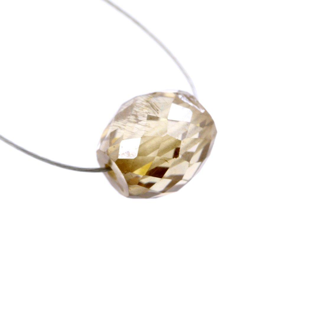 Skyjewels Certified 3.85 Carat 7 mm Loose Champagne Diamond Bead