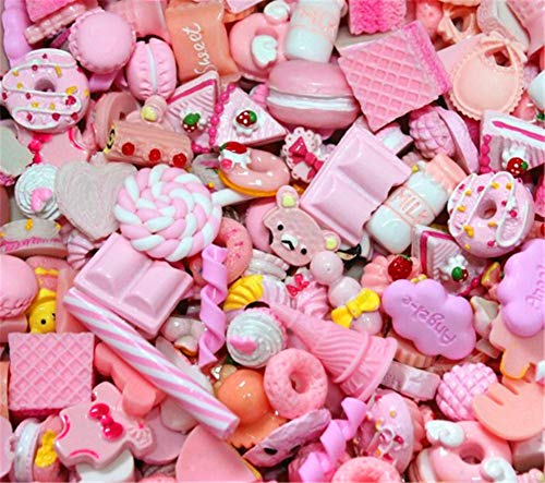 - 30 Pack Cute Candy Slime Beads Fruit Dessert Ice Cream Resin Charms Slices Flatback Buttons for Handcraft Accessories Scrapbooking Phone Case Decor (Baby Pink)