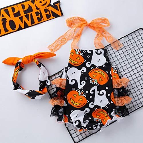 Byste Pizzo Playsuit Bodysuit bambino Tutine Giallo Baby Manica Tuta Bodycon Pagliaccetti Stampa Bambina Lunga Zucca Fionda Halloween Costume rwraZCq