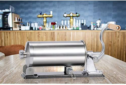 MASTER FENG Sausage Stuffer - Stainless Steel Homemade Sausage Maker Horizontal Meat Filling Kitchen Machine, Packed 8 Stuffing Tubes (6 LBS /3.5L Horizontal)