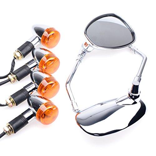 Bundle - 2 items: Chrome 4x Bullet Front Rear Turn Signal Lamp, Oval Side Mirror For Custom Bike Bobber Chopper Cruiser
