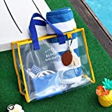 Transparent PVC hand carry swimming bag portable clothing package package fashion beach bag travel handbag blue