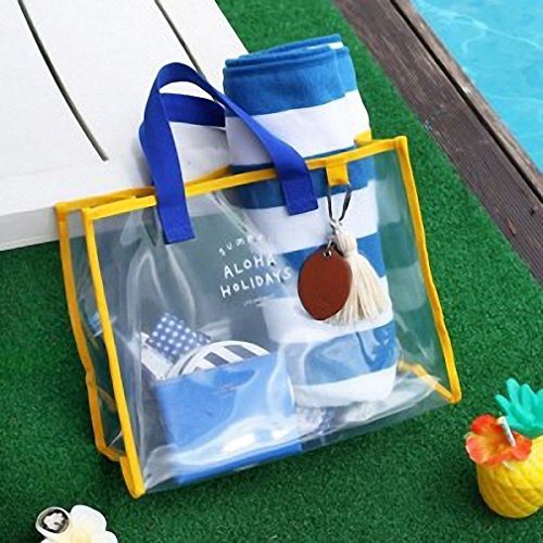 Transparent PVC hand carry swimming bag portable clothing package package fashion beach bag travel handbag blue by BBagi