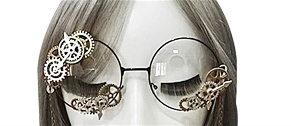 PunkStyle Mini Gears Glasses Steampunk Gothic Vintage Cosplay Glasses (Glasses Without Chain)